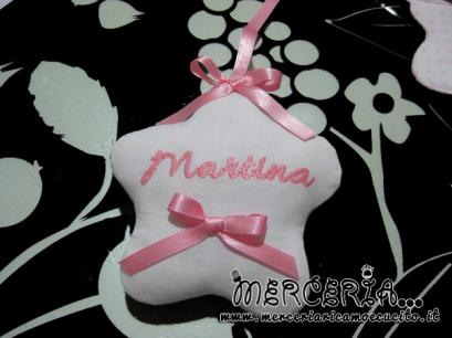 """Fiocco nascita rosa orso su nuvola """"Sono arrivata"""" per Martina"""
