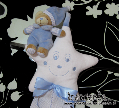 Fiocco nascita stellina celeste con orso per Gherardo