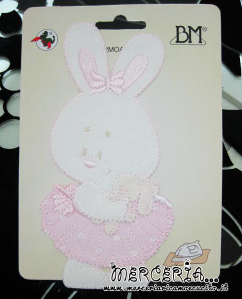 Applicazione termoadesiva coniglietto e peluche rosa
