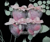 Bomboniera portaconfetti in plexiglass a forma di cuore rosa