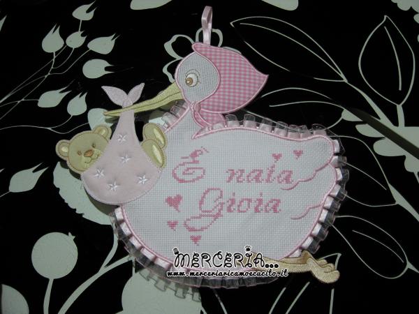 Fiocco nascita cicogna rosa È nata Gioia