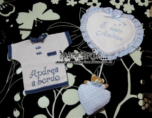 Fiocco nascita cuore pois con orsetto e maglietta per auto per Andrea