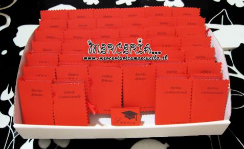 Bomboniera portaconfetti a forma di libro con esami Laurea in giurisprudenza per il Dott. Tonti