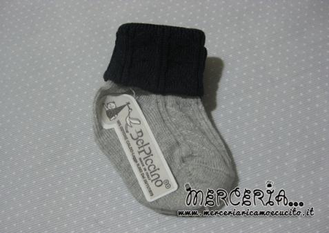 Calzino caldo cotone blu e grigio 4-8 mesi