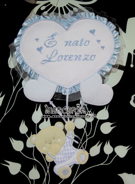 Fiocco nascita celeste con orsetto su palloncini cuore per Lorenzo