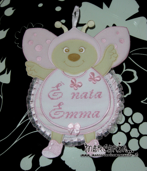 Fiocco nascita coccinella rosa per Emma