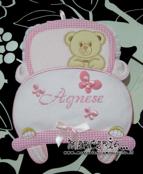 Fiocco nascita macchina rosa per Agnese