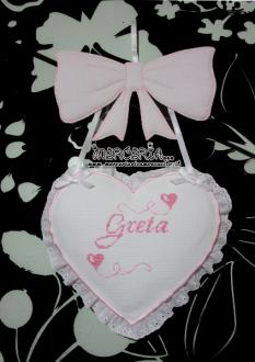 Fiocco nascita rosa con cuore per Greta