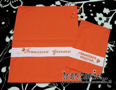 Sacchetto e sacchettino nascita asilo arancione con pois per Francesco Geremia