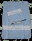 Ser asilo - Sacchetto, bavaglini pappa, bustine, asciugamani e bordure lenzuolini per Piercarlo