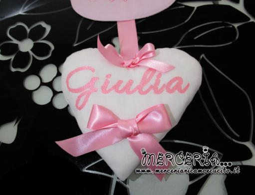 """Fiocco nascita con palloncini """"È nata una bimba"""" con cestino e cuore per Giulia"""
