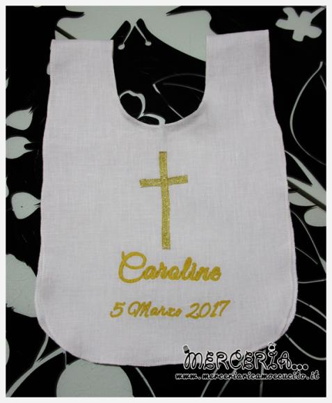 Bavaglino tunica battesimale in lino per Caroline