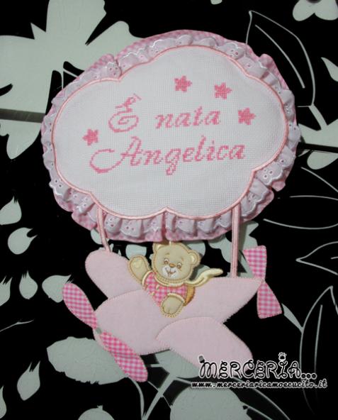 Fiocco nascita aeroplano rosa È nata Angelica