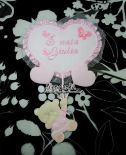Fiocco nascita rosa con orsetto su palloncini cuore e sacchetto nascita con cuori e pois per Giorgia