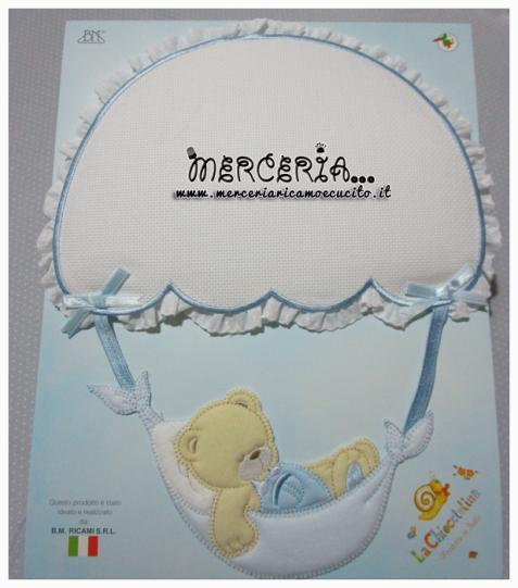 Fiocco nascita celeste con orsetto su paracadute per bambino