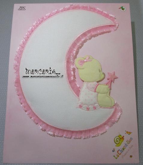 Fiocco nascita luna rosa con orsetto per bambino