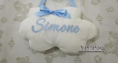 Fiocco nascita sacco È nato con nuvola e beauty con orsetto per Simone