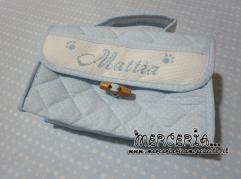Sacchetto bicolore fantasia con pois e beauty con pois per Mattia