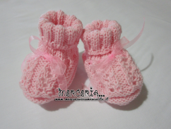 Scarpette ai ferri per neonata in lana rosa