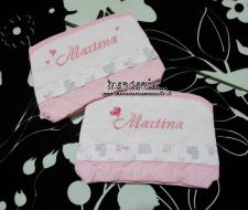 Coppia asciugamani in spugna e bustine pois porta oggetti per Martina