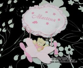 Fiocco nascita aeroplano rosa e sacchetti nascita e asilo con orsetto per Martina