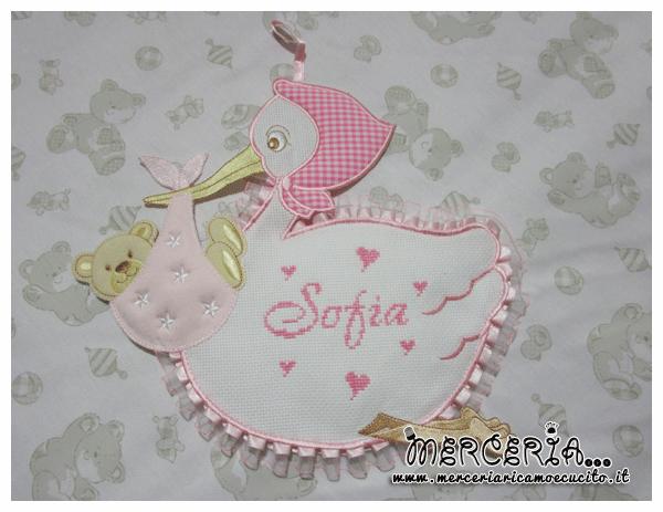Fiocco nascita cicogna rosa perSofia