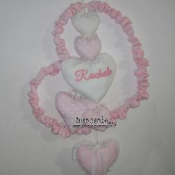 Fiocco nascita cuore con cuoricini per Rachele