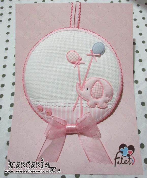 Fiocco nascita con elefante rosa
