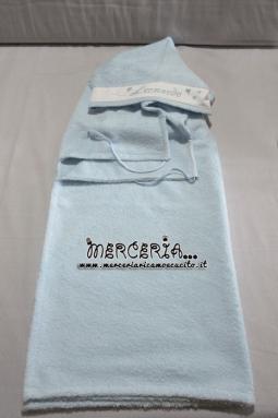 Set nascita - Accappatoio, coppia asciugamani e bavette per Leonardo
