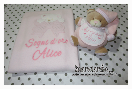 Set regalo con orsetto e copertina rosa per Alice