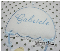 Fiocco nascita celeste con orsetto su paracadute per Gabriele