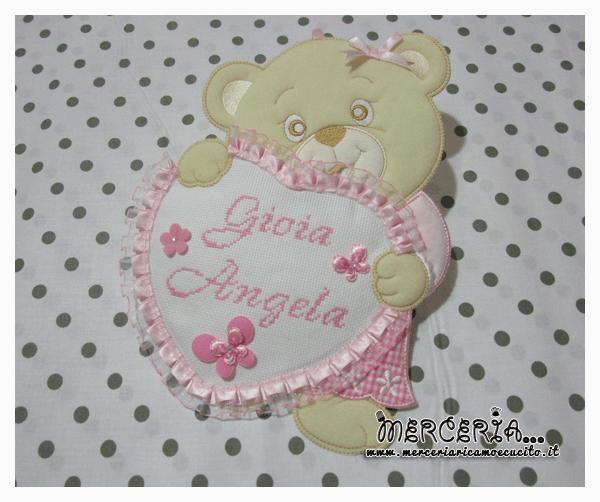 Fiocco nascita orsetto con cuore rosa per Gioia Angela