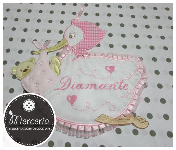 Fiocco nascita cicogna rosa per Diamante