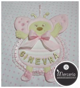 Fiocco nascita coccinella rosa per Ginevra