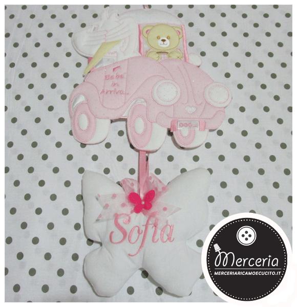 Fiocco nascita macchina rosa con orsetto e cicogna per Sofia