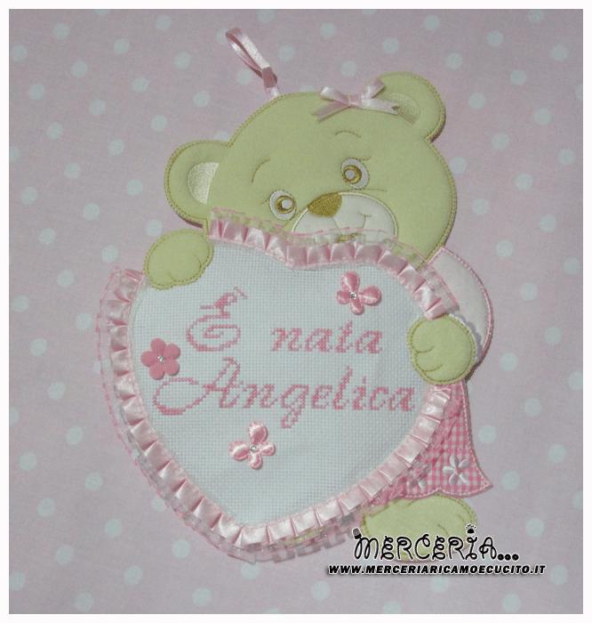 Fiocco nascita orsetto con cuore È nata Angelica