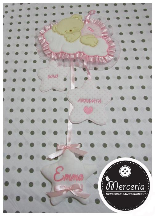 """Fiocco nascita rosa orso su nuvola """"Sono arrivata"""" per Emma"""
