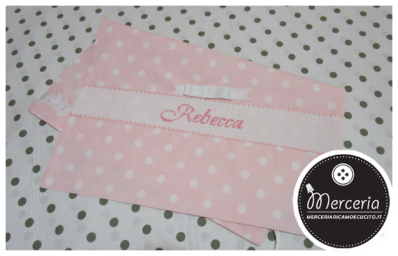 Sacchetto nascita e asilo rosa pois con fiocchetto per Rebecca