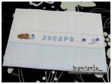 Set lenzuolino pois con orsetto e palloncini per Jacopo