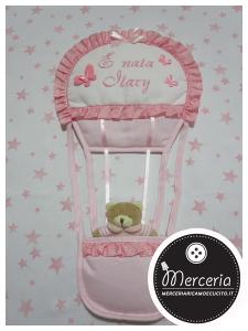 Fiocco nascita mongolfiera rosa È nata Ilary