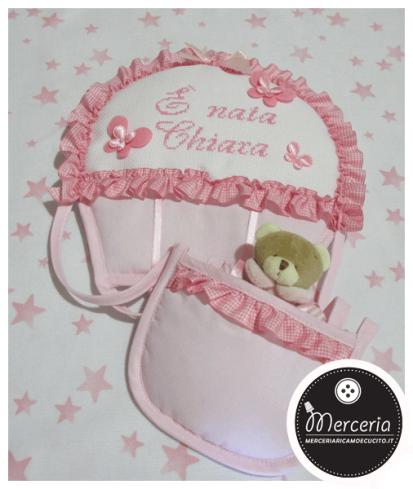 "Fiocco nascita mongolfiera rosa ""E' nata Carla"""