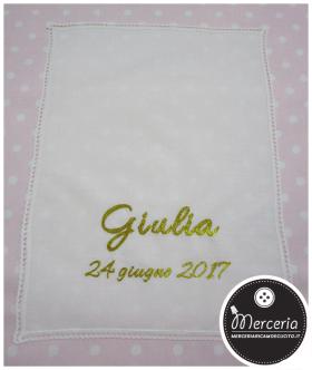 Asciugamano in cotone con merletto per Giulia