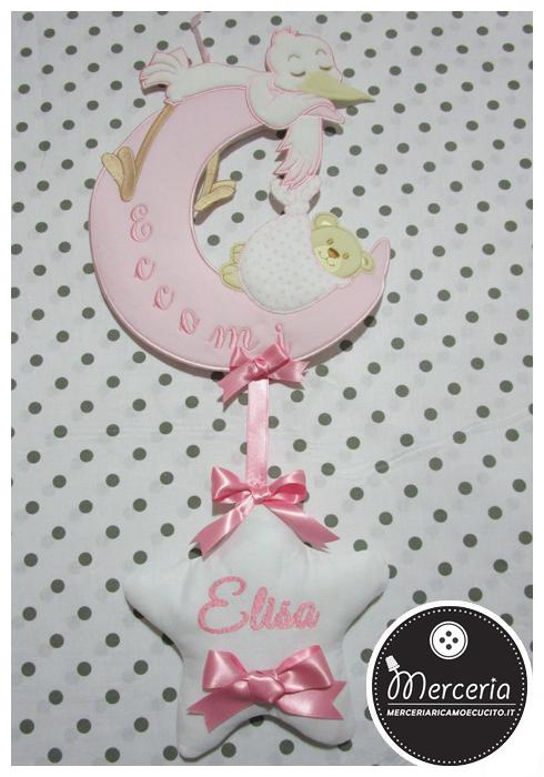 """Fiocco nascita luna rosa """"Eccomi"""" con cicogna e stella pendente per Elisa"""