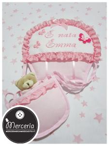 "Fiocco nascita mongolfiera rosa ""È nata Emma"""