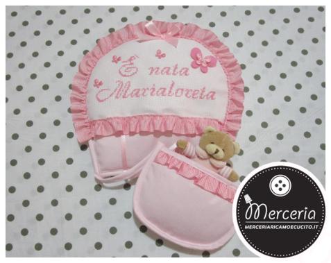 Fiocco nascita mongolfiera rosa È nata Marialoreta