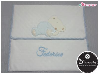 Busta portaoggetti bianca con orsetto dormiglione per Federico
