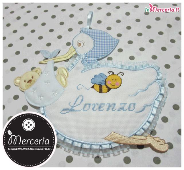 Fiocco nascita cicogna celeste per Lorenzo con apina