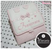 Busta coprifasciatoio e bavetta rosa little star per Francesca