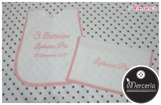 Camicina e asciugamano battesimo in cotone per Ludovica Pia