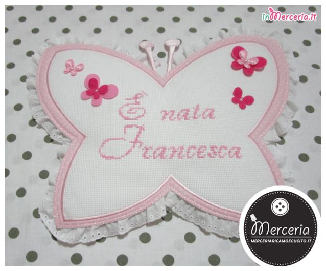 """Fiocco nascita farfalla pois """"È nata Francesca"""""""